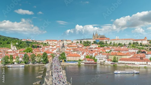 Fotomural Prague Czech Republic time lapse 4K, city skyline timelapse at Charles Bridge an