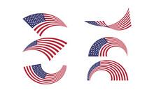 American Waving Curve Flags Set.