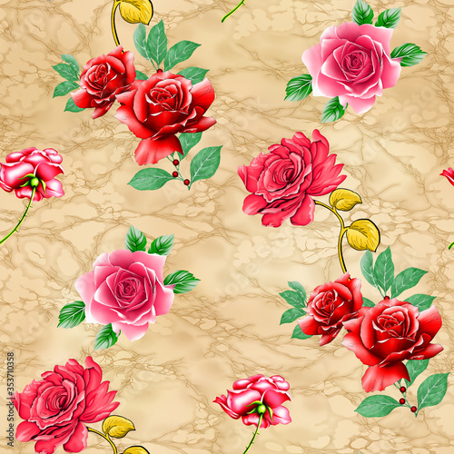 beautiful flower pattern, floral colorful seamless allover design,watercolor Textile Design.wallpaper fabric print with background - illustration © RITVIKUJWAL