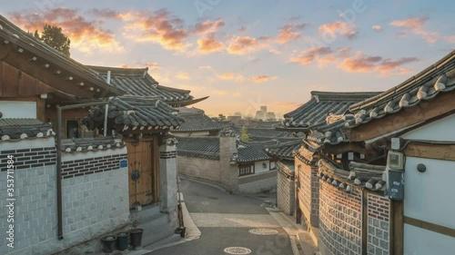 Cuadros en Lienzo Seoul South Korea time lapse 4K, sunrise timelapse at Bukchon Hanok Village