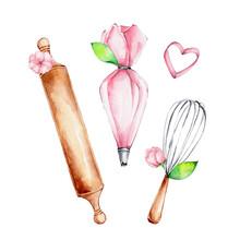 Kitchen Set Of Pink Pastry Bag...