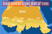 Schematic Vector Map Of The Great African Green Wall Sahara And The Sahel.