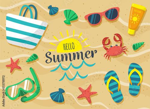 Fototapeta Summer holidays elements vector design  obraz