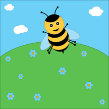Cute Bee On Summer Landscape Bright Meadow. Concept For Preschool Activity For Children, Card For Kids.