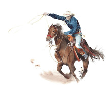 Cowboy Riding Horse American Tradition Horseback Watercolor Painting Illustration Isolated On White Background