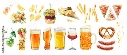 Cuadros en Lienzo Watercolor collection Trendy ipa beer glasses with IPA beer