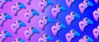 canvas print picture - Pattern from joyisticks in violet and blue neon colors.