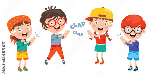 Cartoon Concept Of Clapping Hands Canvas Print