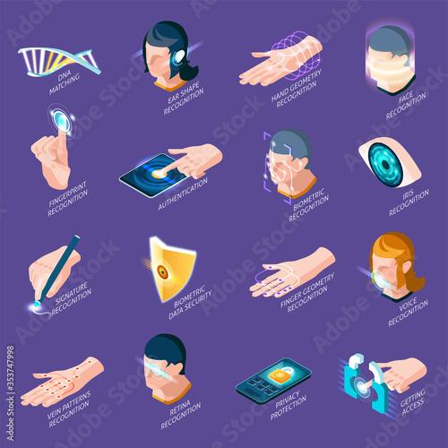 Fototapeta Biometric Authentication Isometric Icons obraz