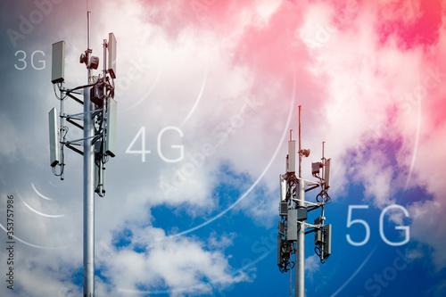Billede på lærred Two telecommunication towers with 4G, 5G transmitters