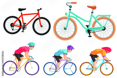 Photo Cartoon Color Different Bicycles Icon Set, Sport Flat Design