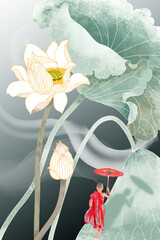 Fototapeta Orientalny 3d illustration of lotus picture