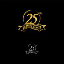 Anniversary Vector Unusual Label. Twentyfive Year Symbol. Birthday Abstract Logo. 25th Jubilee