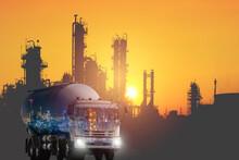Transportation Of Plastic Resins By Tank Car Concept, Double Exposure Of Petroleum Logistics Import Export Concept