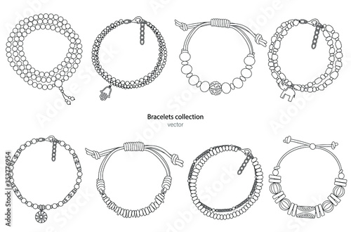 Tableau sur Toile Collection of hand-made bracelets in ethnic style