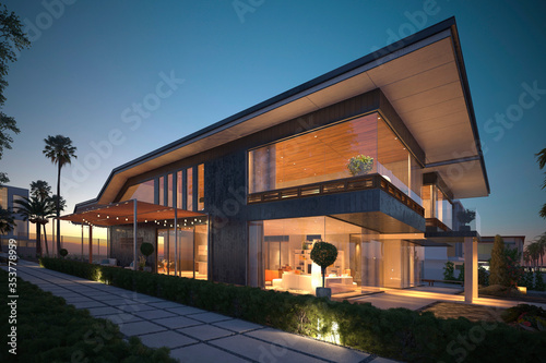 Foto Photorealistic render building exterior in the outdoor 3d illustration