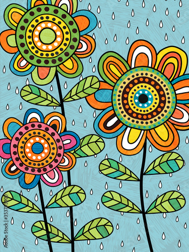 Photo Colorful abstract flowers