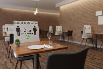 Social distancing restaurant, please keep 2 meters distance 3D rendering