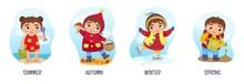 Vector Illustration Of Seasons. Cartoon Cute Girls.