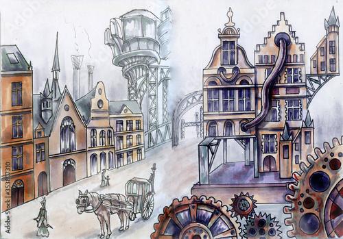 Fototapeta Steampunk architecture