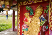 Detail Images Of Colorful Taoist Temple With Dragons And Gods To Protect Farmers And Farms In Rural Part Of Hsinchu
