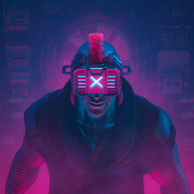 Cyberware Hacker Boss / 3D Illustration Of Science Fiction Cyberpunk Gangster Character Wearing Futuristic Glasses