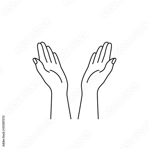 Fotomural linear hands raised up icon