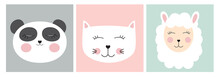 Stickers With Cute Animals. Ve...