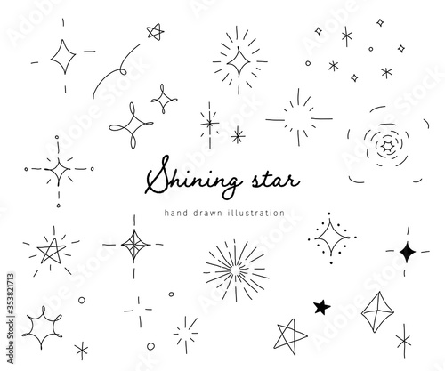 Fotografia おしゃれでかわいい手書きの星のイラスト/キラキラ/素材