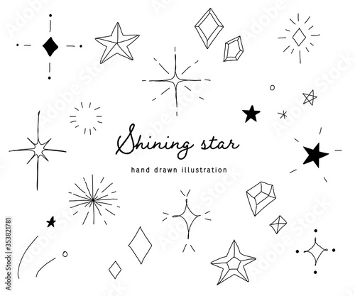 Photo おしゃれでかわいい手書きの星のイラスト/キラキラ/素材