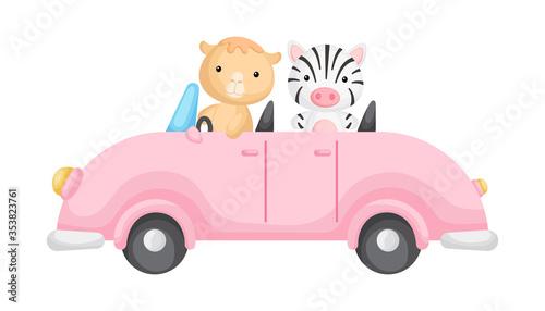 Cute camel and zebra driver on car Billede på lærred