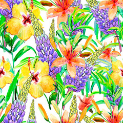 Seamless wallpapers with Beautiful yellow and purple flower, Watercolor painting. Floral textile design. Surface pattern.
