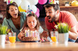 canvas print picture - Family celebrating birthday together