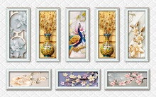 3d Mural Wallpaper With Silver Frames And Flowers In Tree Branches With Flowers And Vases And Peacock In Silver Leather . All Of This In Tableau