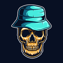 Skull Wearing Bucket Hat Vecto...