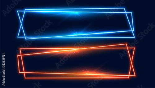 Fotografía two wide neon frames banner in blue and orange color