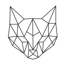 Vector Abstract Polygonal Geometric  Cat Head