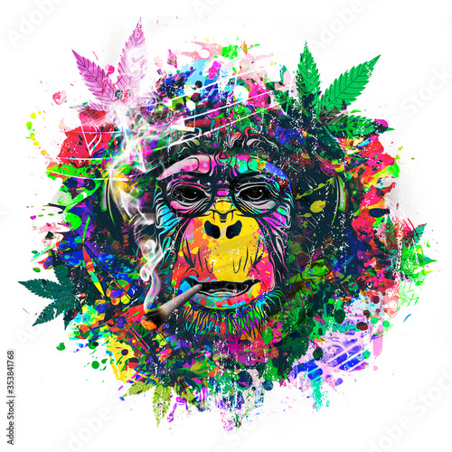Fototapeta abstract colorful monkey background with funny face and cannabis  obraz