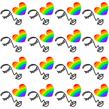 Seamless Pattern Of The Image Of The Rainbow And The Logo Of The LGBT Community. Rainbow Colors, Repeating Elements. Isolated On A White Background. For Printing On Fabric, Postcards, Banners, Invita