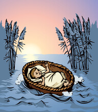 Little Moses In A Basket. Vector Drawing