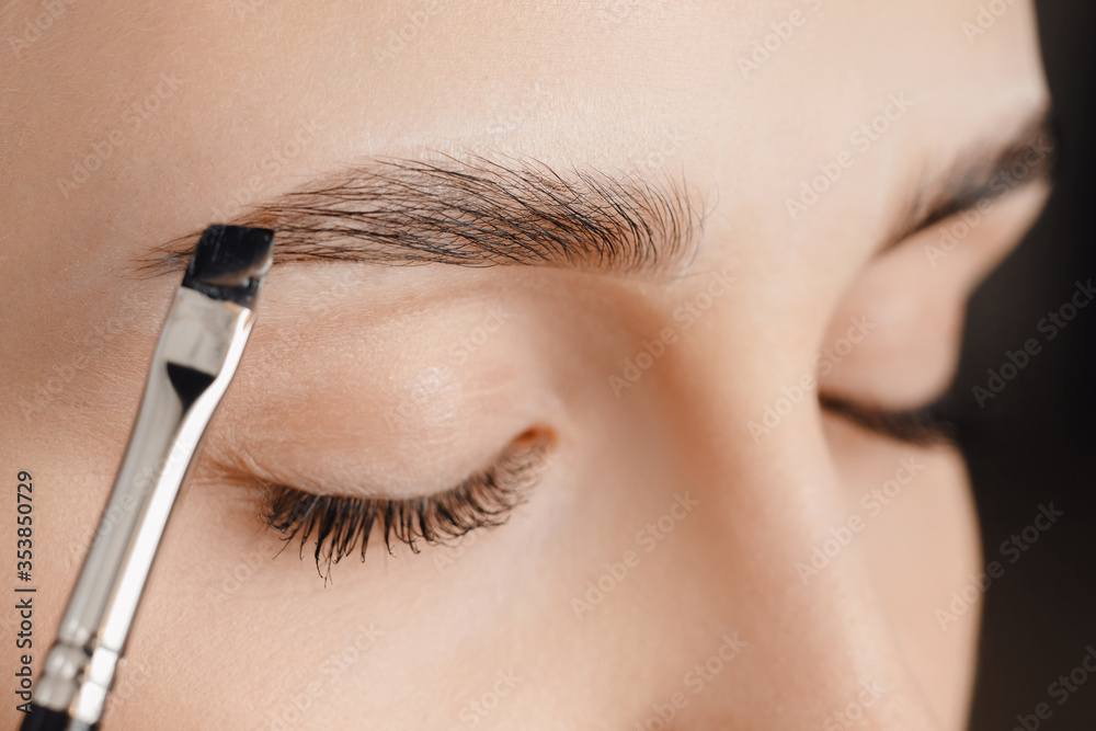Fototapeta Master tinting of eyebrow hair women, brow correction