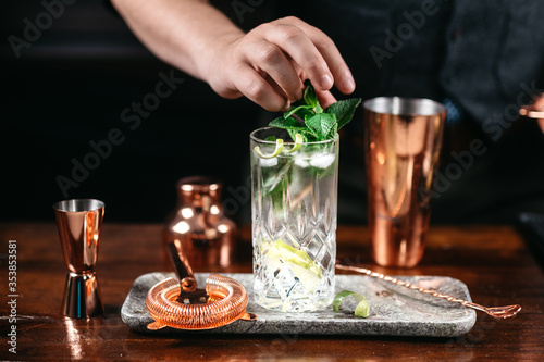 Professional bartender preparing and mixing cocktails at bar counter. Mojito cocktail served in restaurant, pub and bar. Long drink cocktail concept
