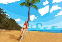 Woman Over Tropical Beach, Smiling Girl On Summer Sea Vacation Illustration