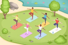 Yoga Outdoor In Park, Group Class Meditation, Vector Isometric Illustration Of Women In Pose On Yoga Mats. Yoga Group Class In Park, Body Balance And Stretch Pilates, Mediation And Wellness Activity