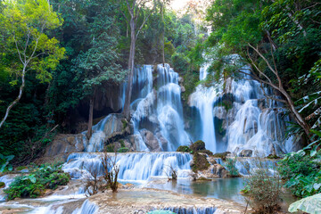 Kuang Si waterfall the most popular tourist attractions Lungprabang Lao Long Exposure