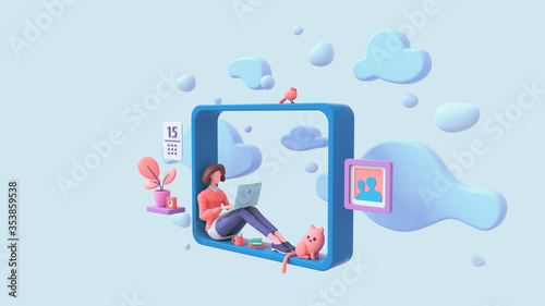 Obraz Casual brunette girl working on laptop sitting on window sill at home with view of the sky, blue clouds. Modern teenage room with books, cat, bird, coral color plants. Pastel floating 3d illustration - fototapety do salonu