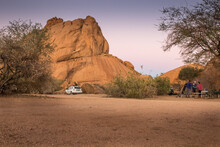 Camping In Desert With Huge Rocks