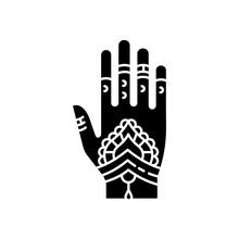 Mehndi Black Glyph Icon. India...