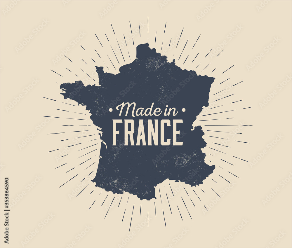 Fototapeta Made in France vintage black and white label or tag or logo or badge design template with France map silhouette and sunburst isolated on light background. Vector illustration
