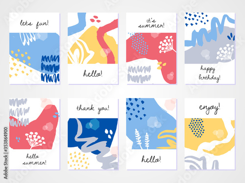 Fototapeta Abstract colourful collage backgrounds set. Hand drawn templates for card, flyer and invitation design. obraz